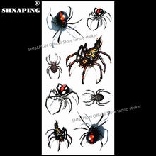 SHNAPIGN 3d Temporary Tattoo Body Art Flash Tattoo Stickers 19x9cm Waterproof Styling Tatoo Home Decor Sticker Sexy Black Spider