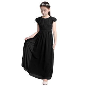 Image 4 - Kids Girls Flutter Sleeves Pleated High waisted With Sash Ties Floor Length Chiffon Dress Flower Girls Dresses for Wedding Party
