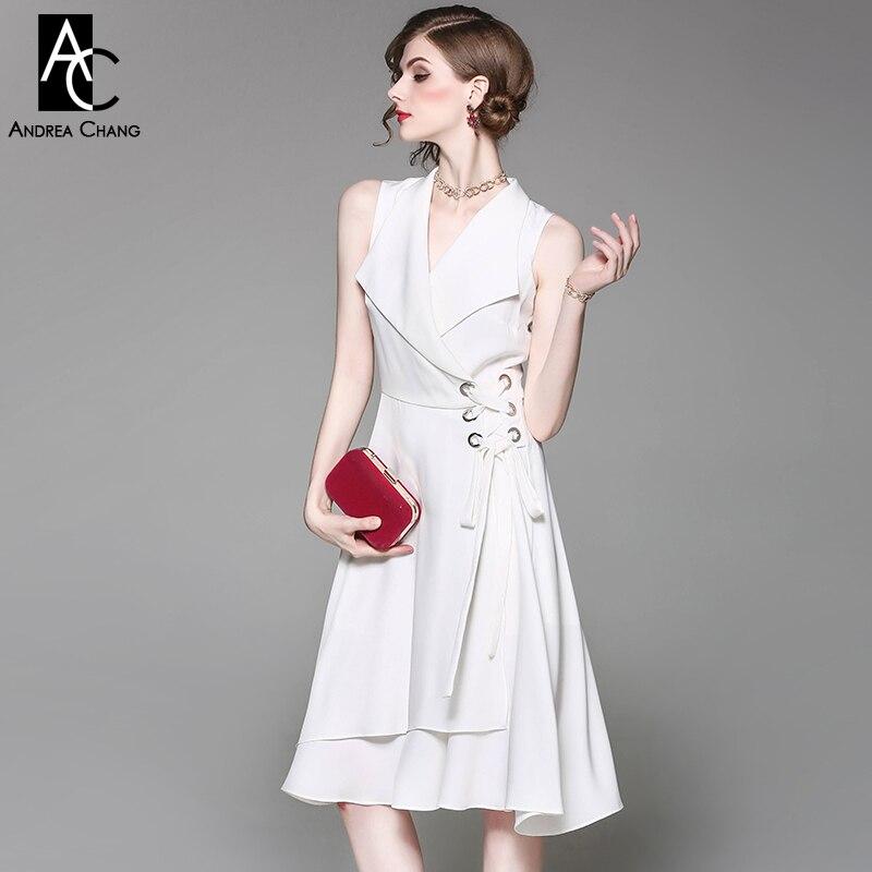 spring summer runway designer women dress drawstring waist belt v-neck over knee length dress black white pink office tank dress drawstring waist tank dress