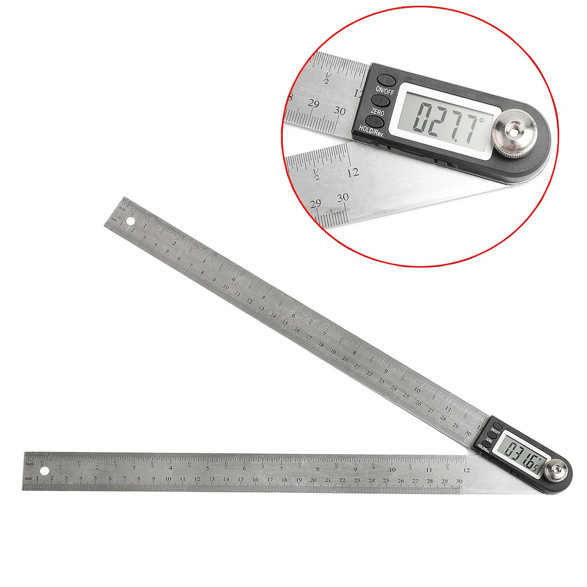 300mm Digital Protractor Inclinometer Goniometer Level Measuring Tool Electronic Angle Gauge Stainless Steel Angle Ruler 12 2 in 1 200mm 300mm stainless steel digital angle ruler protractor level measuring tool electronic metal digital straight rulers