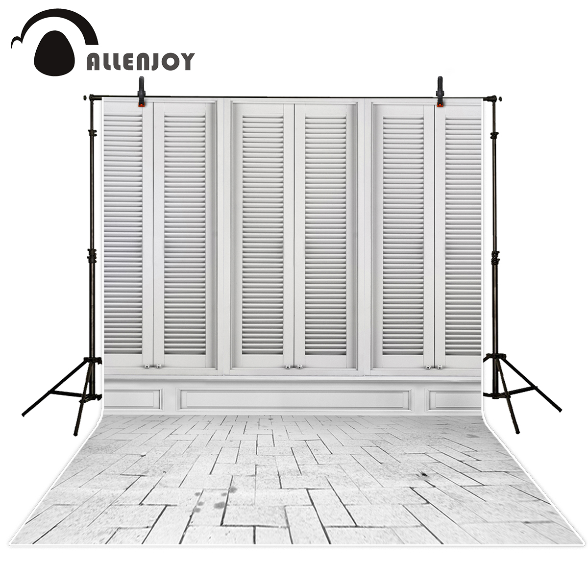 Allenjoy Photographic background White window Brick shutter Personal customization vinyl photography backdrops excluding stand