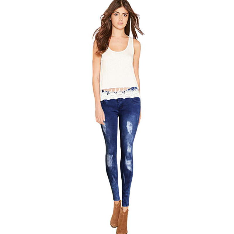 Women's Embroidery Elastic Scratched Mid Waist Full-Length Jeans Skinny White Ripped Button Pencil Pants womem s skinny elastic buttons washed ripped jeans embroidered mid waist full length denim jeans pencil pants