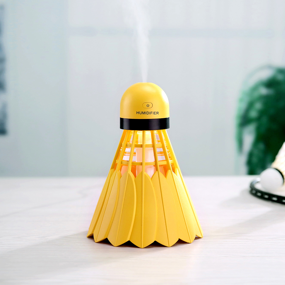USB Badminton Humidifier With Colorful Backlight Ultrasonic Mist Maker With Continuous Intermittent Spraying