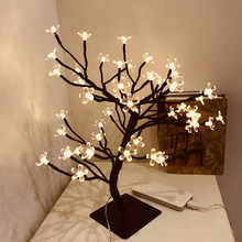 DC 5V USB Tree Bright LED Cherry Lamp 24/36/48 Flowers luces led decoracion 45cm Warm white Tree Light Home Decor Office Bedside(China)