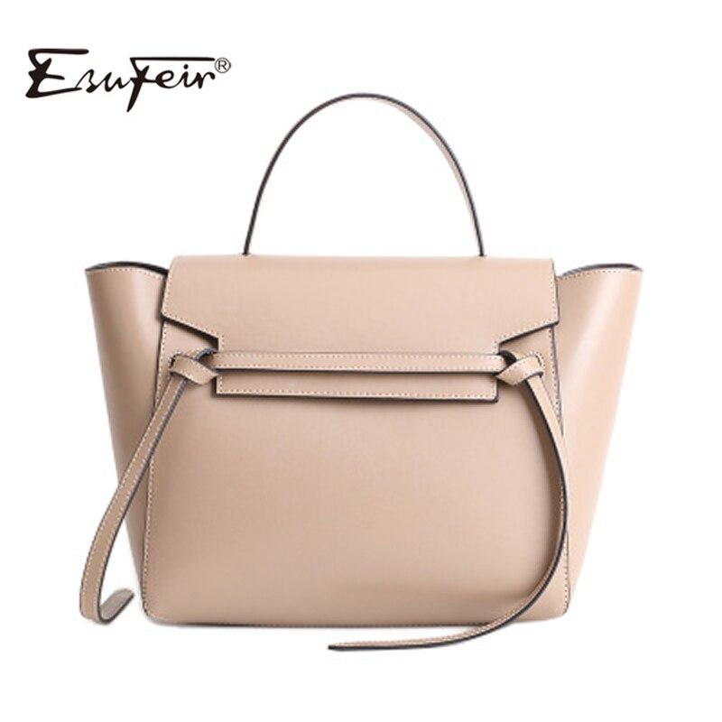New Fashion Genuine Leather Women Handbag Luxury Women Bag Designer Brand Bag Women Shoulder Crossbody Trapeze Bag Casual Tote