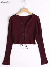 d7d2b38088 Gamiss Women Autumn Short Knitted Sweaters Long Sleeves Lace Up Ribbed Ladies  Crop Tops Tee V-Neck Female Basic Fashion Tops