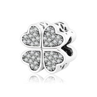 Fit Original Pandora Charms Bracelet High Quality Love Heart Charm 925 Sterling Silver Bead With Cubic
