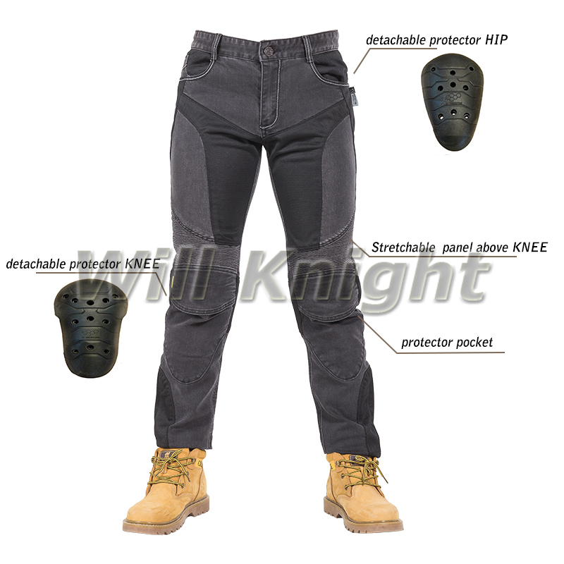 Motorcycle Mesh Jeans Breathable Comfortable Pants Ride Jeans with Pads Black