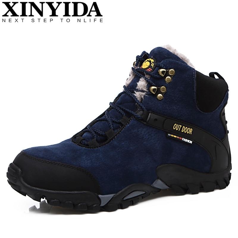Új szabadtéri hegymászó utazás kempingben hó cipő téli szőr meleg meleg cipő vízálló boka botas márka férfi csizma méret 38-45