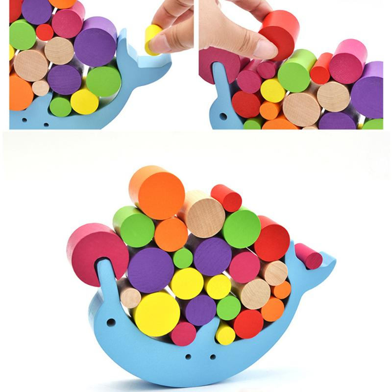 Baby Wood Dolphin Balancing Educational Toys Building Blocks Kids Baby Montessori Toys for Children Balancing Game Toy Gift cute falling tumbling monkeys blocks toy board game kids balancing training toys parenting family game blocks toy