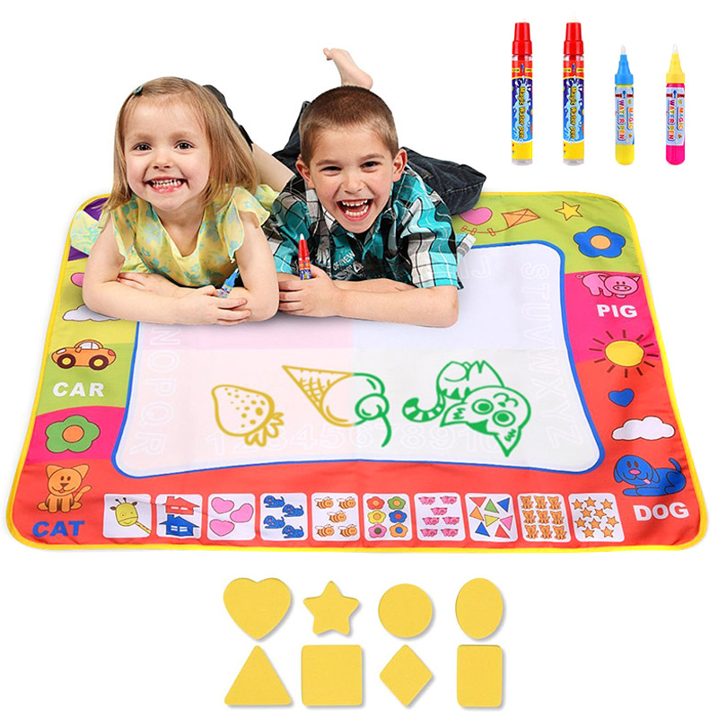 Water Drawing Mat Large Doodle Mat Painting Board Writing Mats with 4 Pens 8 Molds Kids Learning Toy S7JN