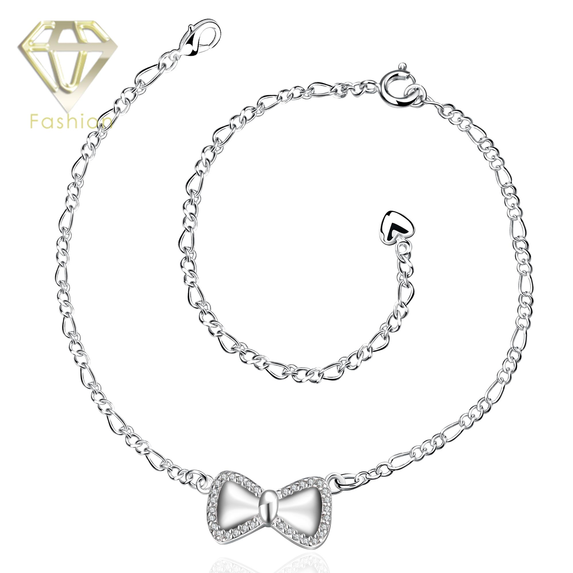 polished zirconia silver cubic bow inch sterling with pin anklet