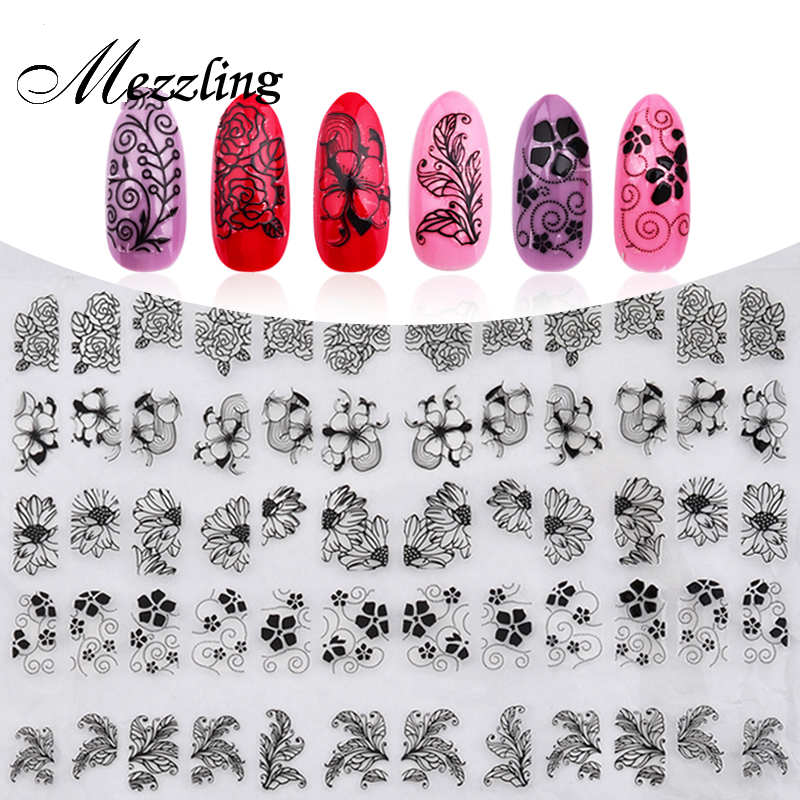 Nya 3D Black Flowers Nail Stickers Dekaler, 108st / ark Topp kvalitet Metallic Mixed Designs Adhesive DIY Nail Art Decoration Tool