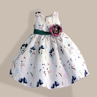 Mode Mädchen Partei Kleid Super Blume Bogen Kinder Kleid Tribute Silk Green Floral Mädchen Kleidung robe fille enfant 3-8 T