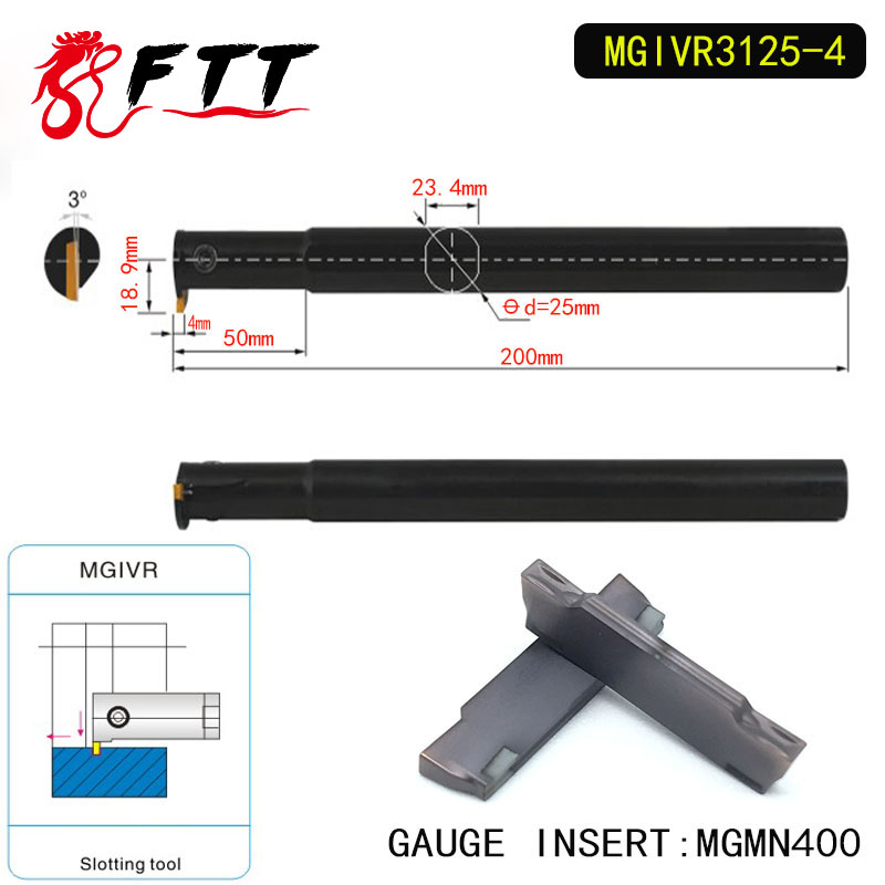 MGIVR3125-4 Intermal Parting and Grooving Turning Tool Holder For MGMN400 Insert Right Hand Bars MGMN 400