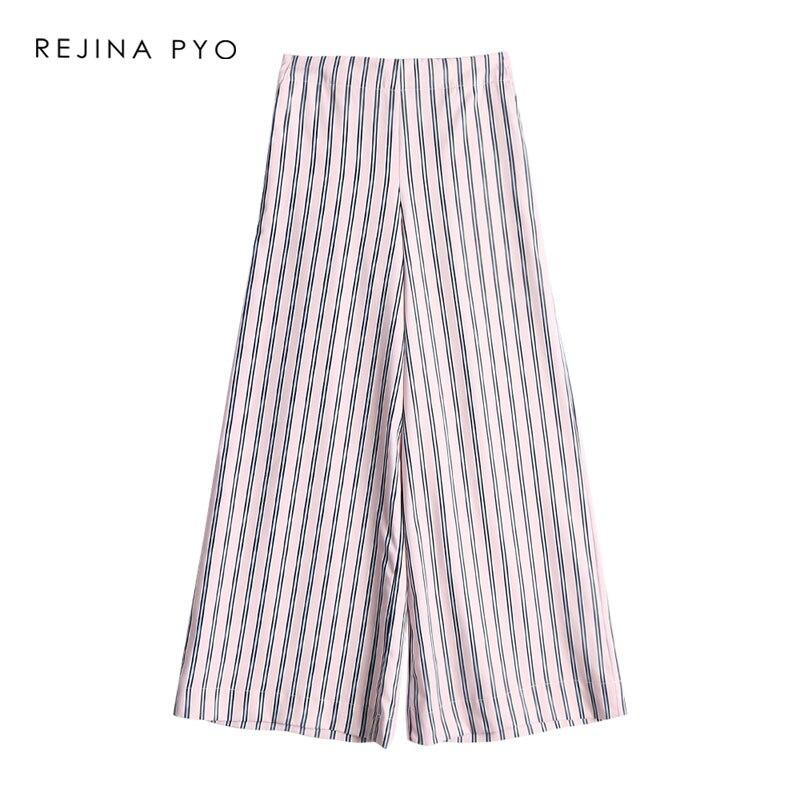 3dce5f05132f REJINAPYO mujer pantalones holgados a rayas Mujer pierna ancha pantalones  casuales alta cintura elástica Mujer Pantalones de moda nueva llegada