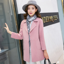 2017 Women's coat spring and autumn Slim long design full sleeve pink and blue woolen jacket plus size M-4xl bs5337