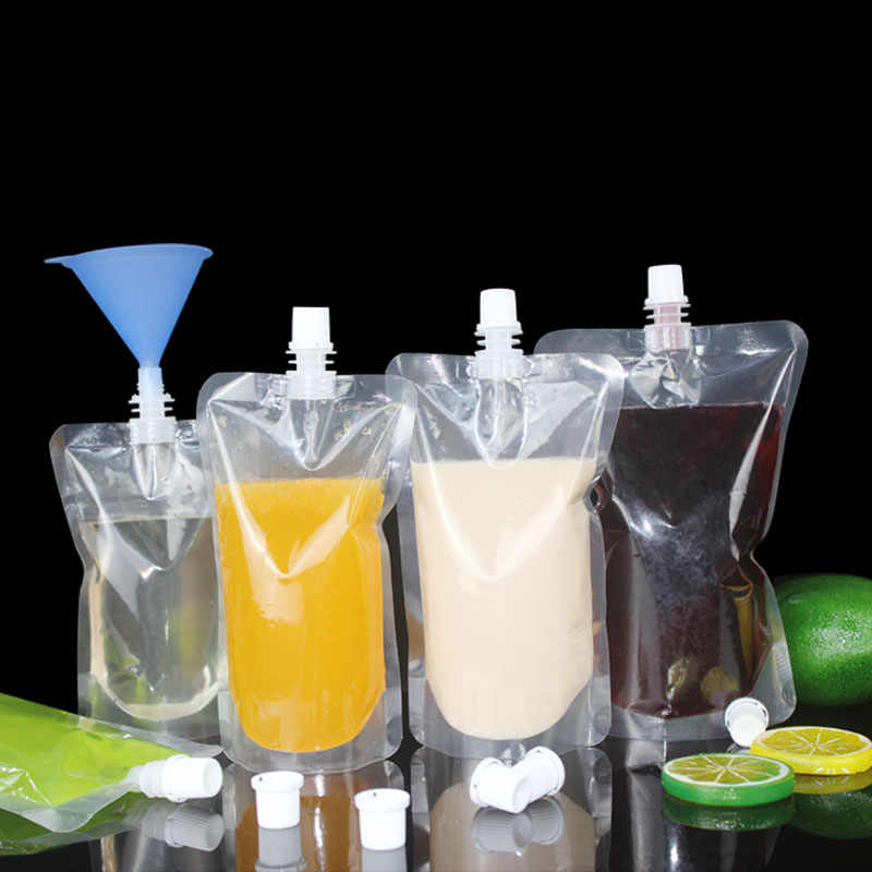 100pcs 100ml-500ml Stand up Packaging Bags Drink Spout Storage Pouch for Beverage Drinks Liquid Juice Milk Coffee ect.