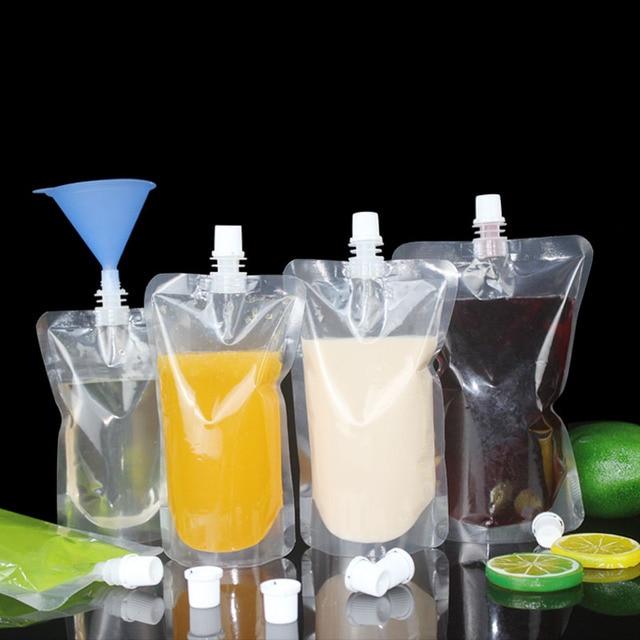 100 pcs 100 ml-500 ml אריזה לקום שקיות לשתות זרבובית אחסון פאוץ עבור משקאות משקאות מיץ נוזל חלב קפה ect.