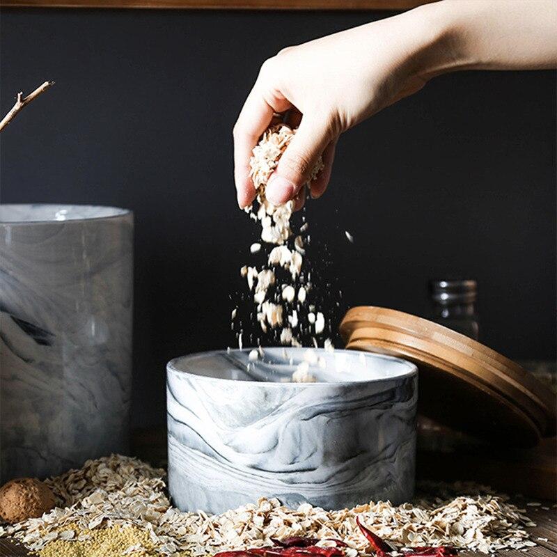 New Simple Tea Storage Box Tea Jars Quality Candy Jars Cereals Storage Container Kitchen Wild Mouth Ceramic Spices Storage Box