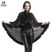 ROLECOS 2018 Steampunk Lolita Shawls For Women Black Lace Stitching Capes Gothic Solid Black Wrap Female Coat Sexy Tops