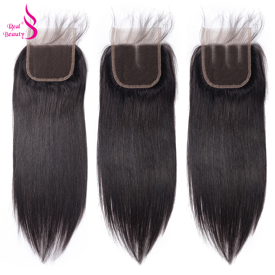 Real Beauty Brazilian Straight Hair Lace Closure Three/Free/Middle/ Part Remy Human Hair 4x4 inch Swiss Lace Closure