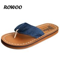 New Women Fashion Denim Flip Flops High Quality Women Sandals Comfort Rubber Slipper Shoes For Female