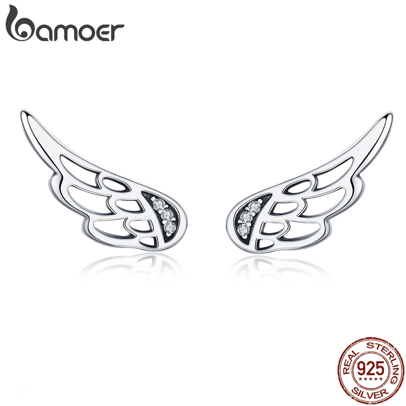 BAMOER Genuine 925 Sterling Silver  Feather Fairy Wings Stud Earrings Silver for Women Fashion Silver Jewelry Christmas SCE343BAMOER Genuine 925 Sterling Silver  Feather Fairy Wings Stud Earrings Silver for Women Fashion Silver Jewelry Christmas SCE343