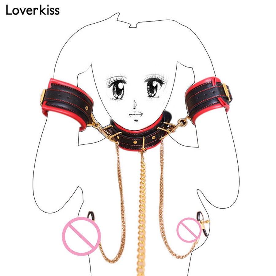 Loverkiss Faux Leather Handcuffs with Nipple Clamps Restraints Sex Collar Bdsm Bondage Set,Adult Games Slave Bdsm Sex Products nilfisk alto buddy ii 18 inox