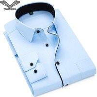 VISADA JAUNA 2017 Casual Shirt Men Long Sleeve Thời Trang Slim Fit áo sơ mi Nam Cotton Màu Rắn Hombres Áo 5XL Kích Thước Lớn N5849