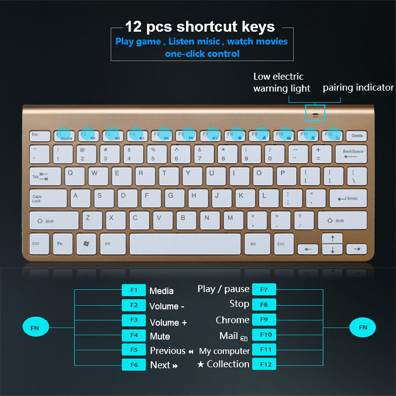 Ultra Slim 2 4G Wireless Keyboard Portable Mouse Mini Set Keyboard for IOS Android For Mac