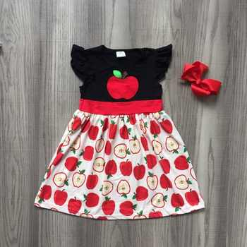 new back to school summer baby girls kids boutique clothes balck red apple dress sleeveless cotton tops dress match accessories - SALE ITEM - Category 🛒 Mother & Kids