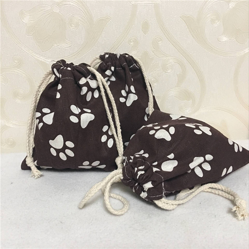 YILE Cotton Linen Drawstring Multi-purpose Organizer Bag Party Gift Bag Print Paws Brown 8507-1