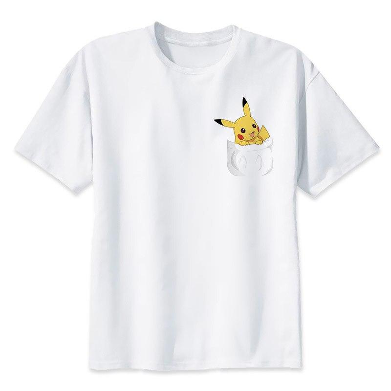 Moda Bella Pokemon Go T Shirt Anime Pika Uomo T-Shirt Pikachu Boy T Shirt Manica Corta Plus Size Ragazzo Tees Top