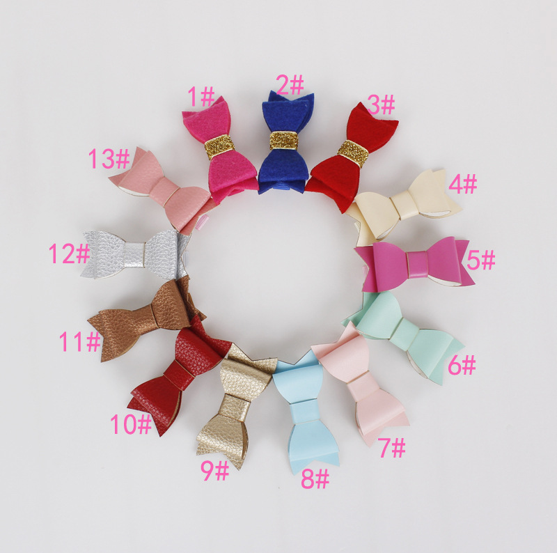 Wholesale 2015 new Glitter Felt and Artificial Leather Bow Hair Clips girl Fashion Hair Accessory Bow Hair Grips 100ps/lot
