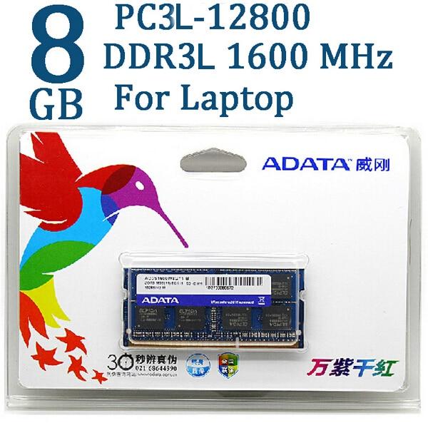 Adata ddr3 ddr3l 4gb 8gb 1600mhz de memória ram, 204 pin SO-DIMM 1333 PC3L-12800 pc3 para asus samsung laptop lenovo thinkpad dell hp