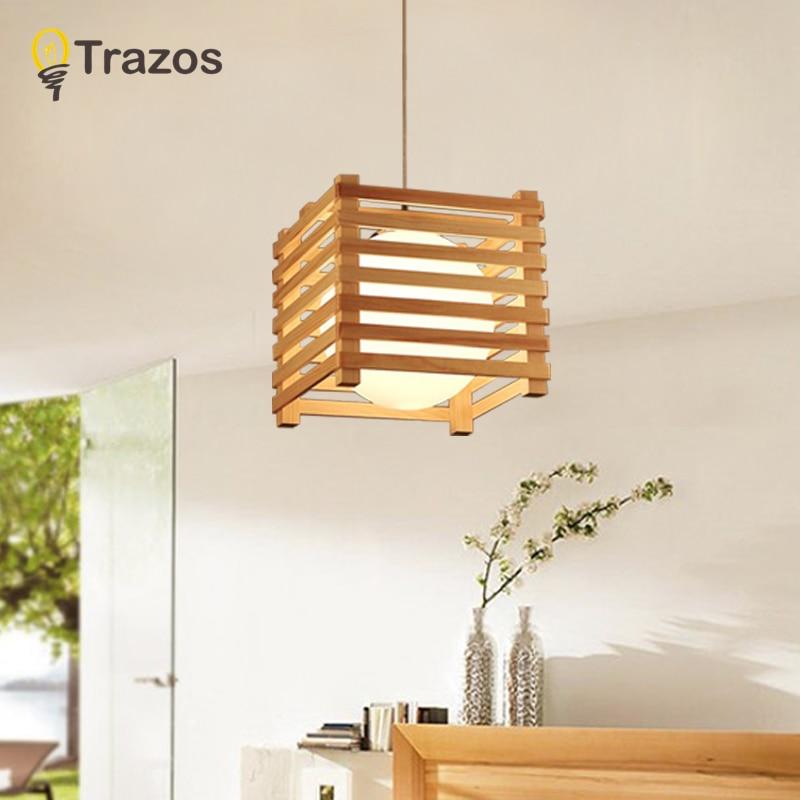 TRAZOS Nordic LED Pendant Lights For Dining Wooden Lampadario Vintage Metal Hanging Light Kitchen Light Fixtures Wood Luminaria