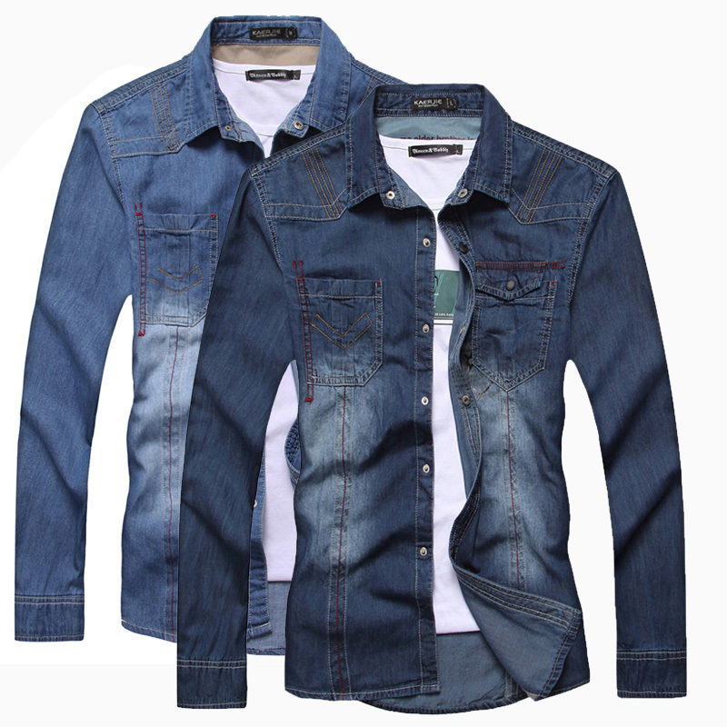 16ac4ce068e 6188 New Fashion Men s Denim Shirt 100%Cotton Luxury Stylish Wash Slim Fit  Casual Jeans Shirts Dark Blue Light Blue XS S L-in Casual Shirts from Men s  ...