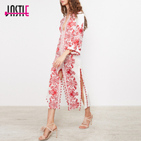 Jastie Red Embroidered Long Tunic Midi Dress Caftan Slits And Pom Pom Trim Chic Beach Boho