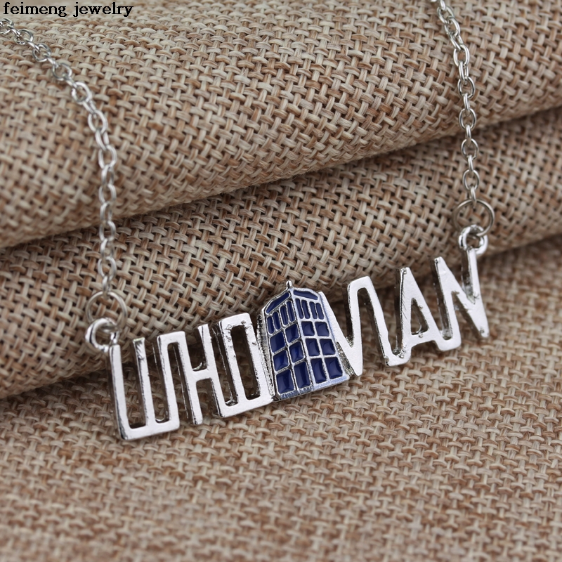 Wholesale 20pc ancient silver Spinning TARDIS necklace Doctor Who Letter necklace for Women Party Jewelry