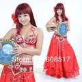 Sexy Professional Performance 3Pcs Bra&Belt&Skirt Belly Dance Costume,7Colors Available,One Size