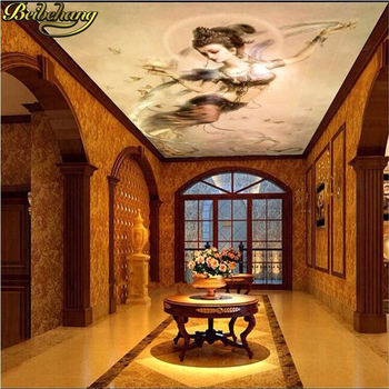 цена на beibehang 3d photo wallpaper Living room entrance background Feitian pictures fairy bedroom ceiling mural wallpaper wall mural