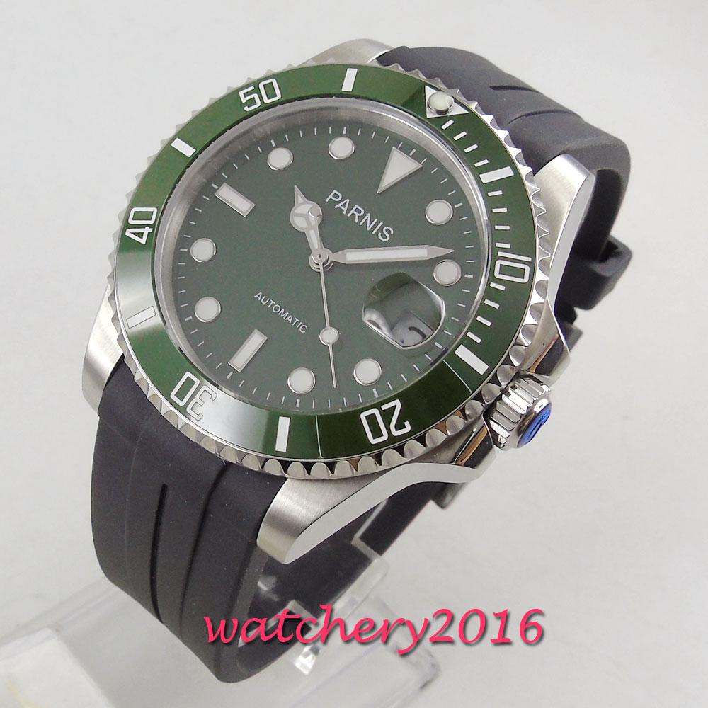 PARNIS Casual Uhren für Männer Grün Top Marke Luxus Militär Gummi Armbanduhr Mann Uhr Mode Automatische Armbanduhr-in Mechanische Uhren aus Uhren bei