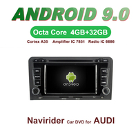OTOJETA Car GPS Android 9.0 Radio FOR AUDI A3 S3 RS3 2003 auto stereo Navigation with DVD Capacitive screen Support Mirror Link