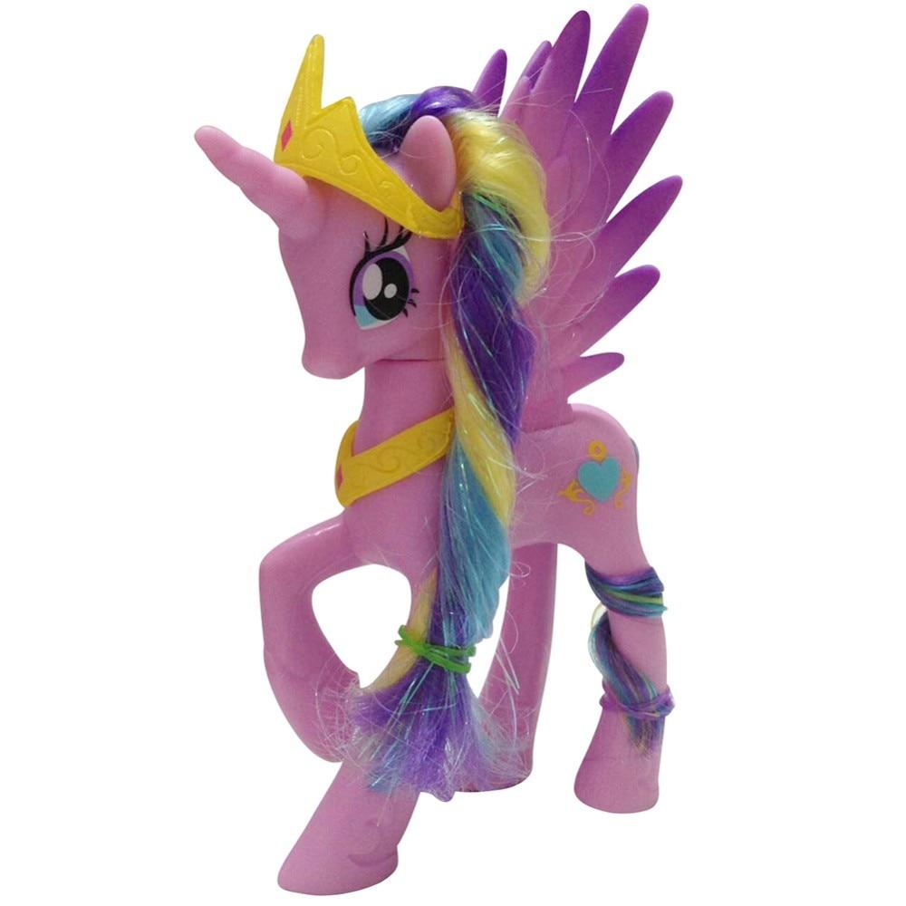 Free shipping 14cm Rainbow Horse PVC Toys Girls Kawaii Cute Unicorn Doll Anime Figure Collection Toy Birthday Gift