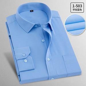 Image 5 - Camisas de trabajo de talla grande para hombre, camisas de manga larga informales, ajustadas, de algodón, blancas, a rayas, para primavera y otoño