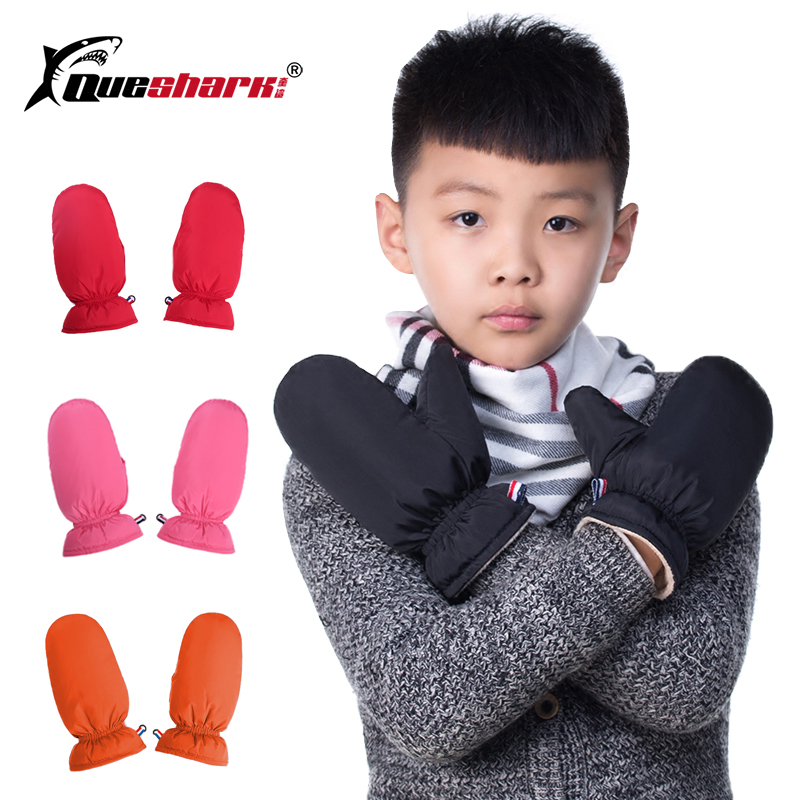 Winter Kids Warm Ski Gloves 100% White Duck Down Children's Boys Girls Sport Mittens Waterproof Thick Fleece Snowboard Gloves