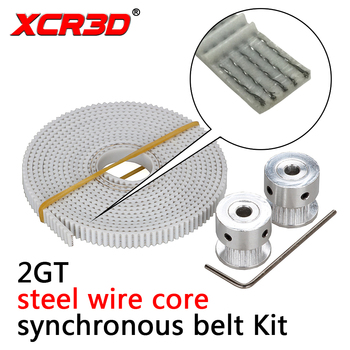 цена на 3D Printer Kit 2M PU White 6mm 2GT Synchronous belt with Steel Core Wire GT2 Synchronous wheel 20 Tooth Bore 5mm with Hex Wrench