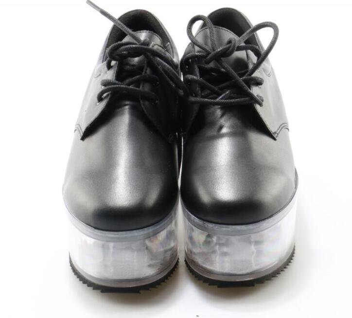 Chaussures Plate Picture forme Haute Bas whtie Dames Lacent As Casual Transparent Picture Femmes Style En Lisse Noir Doux as Cuir Printemps PukOXiZ