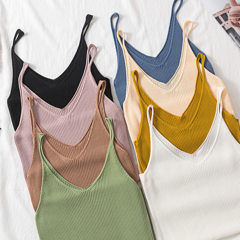 2019 Summer New Solid Stitching V-neck Female Knitted Short Section Slim Bottom sleeveless   Tank     Tops   Multi color